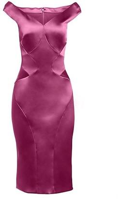 Zac Posen Seam Detail Stretch Satin Cocktail Dress