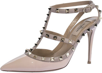 Valentino Light Pink Patent Leather Rockstud Pointed Toe Sandals Size 39