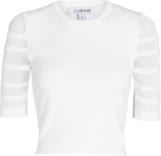 Cushnie Striped Knit Crop Top