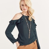 Apricot Green Ruffle Cold Shoulder Sleeve Blouse