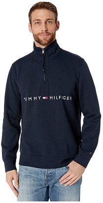 Tommy Hilfiger Adaptive Mock Neck with Extended Half Zipper Pull (Sky Captain) Men's Clothing
