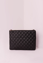 Missguided Black Zipped Quilted Clutch Bag