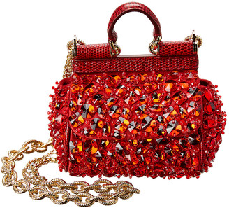 Dolce & Gabbana Sicily Micro Embroidered Leather Shoulder Bag