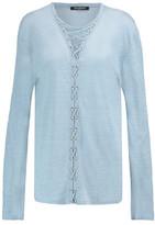 Balmain Lace-Up Linen Top
