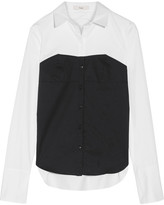 Tibi Two-tone Cotton-poplin Shirt - White