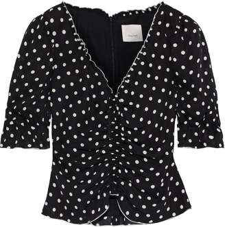 Cinq à Sept Kimberly Cropped Ruched Polka-dot Silk-georgette Blouse