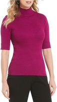 Investments Elbow Sleeve Mini Mock Neck Sweater Top