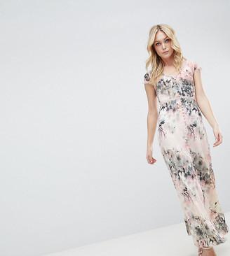 Little Mistress Tall Button Through Maxi Dress In Romantic Floral Print