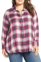 Lucky Brand Plus Size Women's Side Button Plaid Shirt