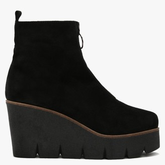 Hamal Black Suede Zip Front Wedge Ankle Boots