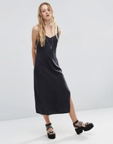 Asos Denim Midi Slip Dress in Washed Black with Side Split