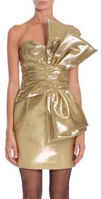 Saint Laurent Oversized Bow Mini Dress