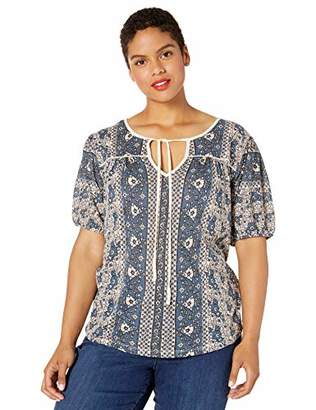Lucky Brand Women's Plus Size Printed Short Sleeve Peasant TOP