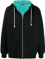 Acne Studios face-embroidered patch zipped hoodie