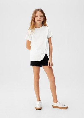 MANGO Ruched organic cotton t-shirt
