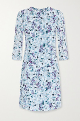 Erdem Emma Floral-print Silk Crepe De Chine Mini Dress - Blue