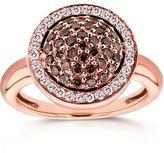 Kobelli Jewelry Kobelli 2/3 CT TW Round-Cut Brown and White Diamond 14K Rose Gold Halo Ring