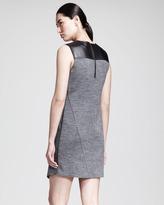 Derek Lam 10 Crosby Asymmetric Leather-Yoke Dress
