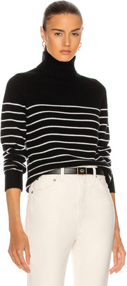 Nili Lotan Molly Turtleneck Sweater in Black & Ivory Stripe   FWRD