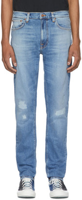 Nudie Jeans Blue Lean Dean Repairs Jeans