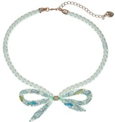 Betsey Johnson Mixed Charm Bow Frontal Pearl Mesh Tube Necklace