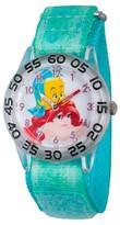 Disney Girls' Princess Ariel Clear Plastic Time Teacher Watch - Green