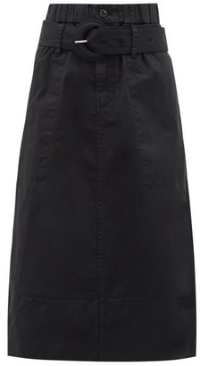 Proenza Schouler White Label - Belted Cotton-blend Twill A-line Skirt - Womens - Black