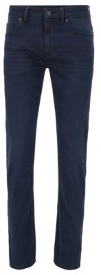 BOSS Lightweight slim-fit jeans in dark-blue stretch denim