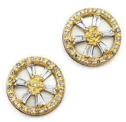 Armenta 18K Yellow Gold & Blackened Sterling Silver Old World Crivelli White Sapphire & Champagne Diamond Stud Earrings