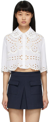 RED Valentino White St. Gallen Cropped Shirt
