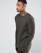 Asos Rib Longline Muscle Long Sleeve T-Shirt In Khaki