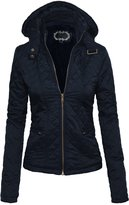 Hot From Hollywood Women's Lightweight Quilted Faux Fur Lined Puffer Style Jacket w/ Removable Hood