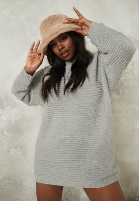 Missguided Plus Size Grey Knit Rib Jumper Dress