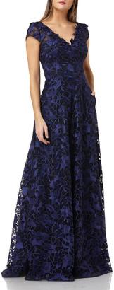 Carmen Marc Valvo Embroidered V-Neck Cap-Sleeve Ball Gown