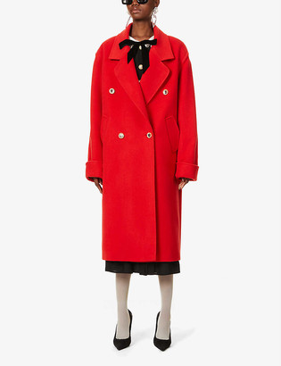 Alessandra Rich Double-breasted oversized wool and cashmere-blend coat