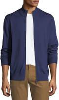 Neiman Marcus Merino Wool-Silk Zip-Front Cardigan