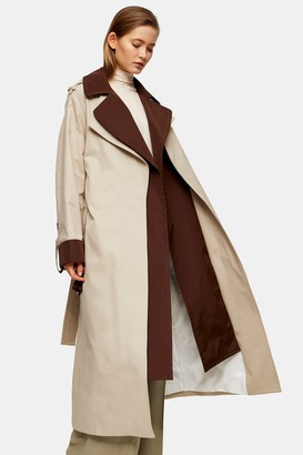 Topshop Womens **Double Layer Trench By Brown