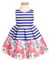 Luli & Me Girl's Peony Stripe Fit & Flare Dress