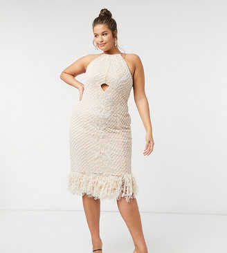 ASOS DESIGN Curve Luxe high-neck pearl-embellished midi dress with feather hem in beige