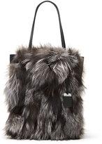 Michael Kors Eleanor Large Fox-Fur North-South Tote Bag, Silver