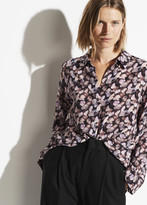 Micro Painted Floral Silk Blouse