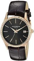 Akribos XXIV Women's AK883BKR Round Black Dial Three Hand Quartz Rose Gold Tone Strap Watch