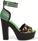 Nicholas Kirkwood Printed satin platform sandals