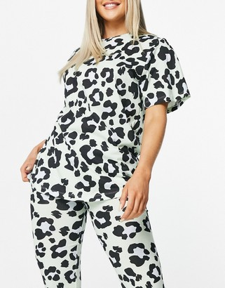 ASOS DESIGN oversized tee & legging pajama set in sage leopard print