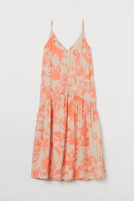 H&M V-neck Satin Dress - Beige