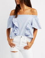 Charlotte Russe Ruffle-Front Off-The-Shoulder Top