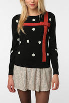 PJ by Peter Jensen Polka Dot Cute Ugly Christmas Bow Sweater