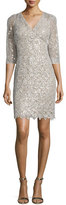 Kay Unger New York 3/4-Sleeve Embellished-Lace Dress, Champagne