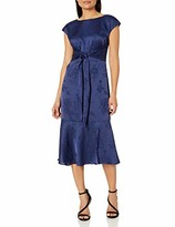 Adrianna Papell Women's Satin Jacquard MIDI TIE Dress