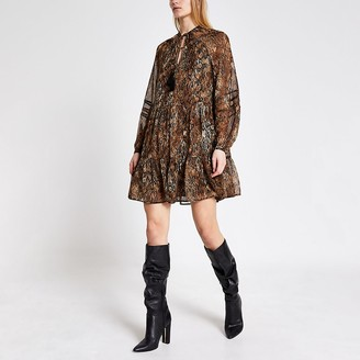 River Island Black printed long sleeve mini smock dress